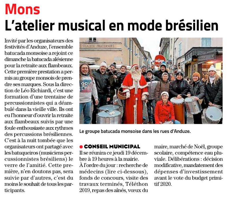 Article Midi Libre du 19 décembre 2019